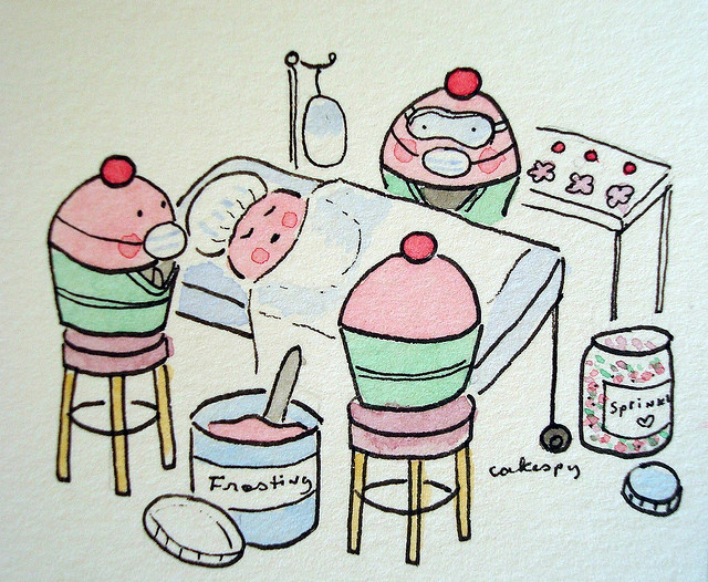 Cartoon of Cupcakes in Operating Room, via CakeSpy for Bluprint