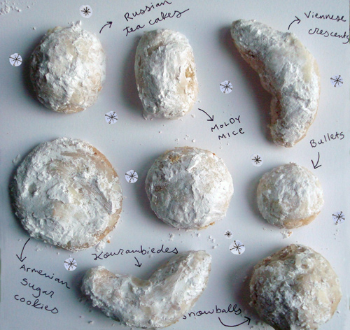 Different Shapes of Snowball Cookies