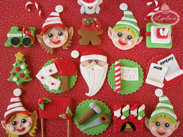 Fondant Cupcake Toppers: Santa's Workshop