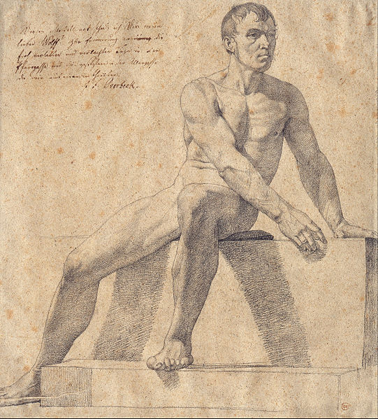 Male Nude Sitting on a Pedestal