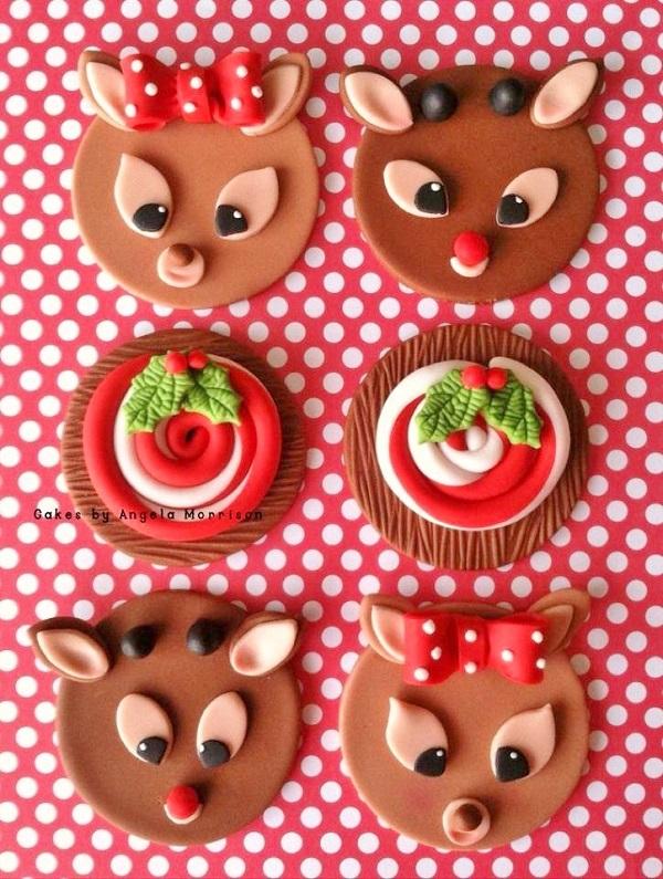 Reindeer & Christmas Goodie Fondant Cupcake Toppers