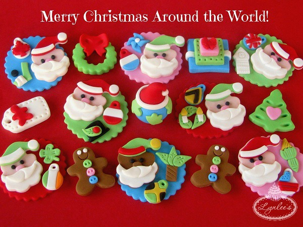 Global Christmas Fondant Cupcake Toppers