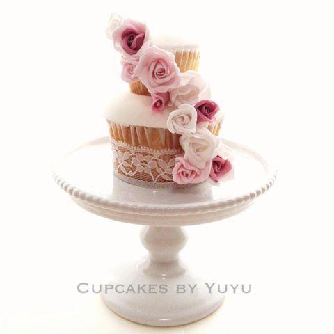 Pink Rose Cupcake on Pedestal