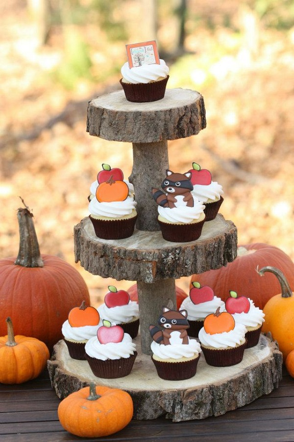 Fall Cupcakes with Fall Themed Toppers on Wood Tower