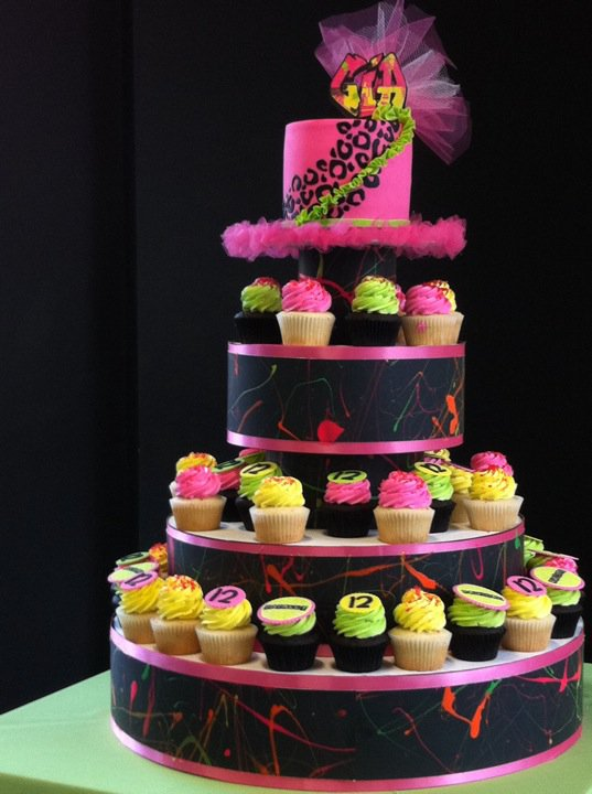Bright Pink 80s Cupcake Tower, on Bluprint via Hey There, Cupcake!