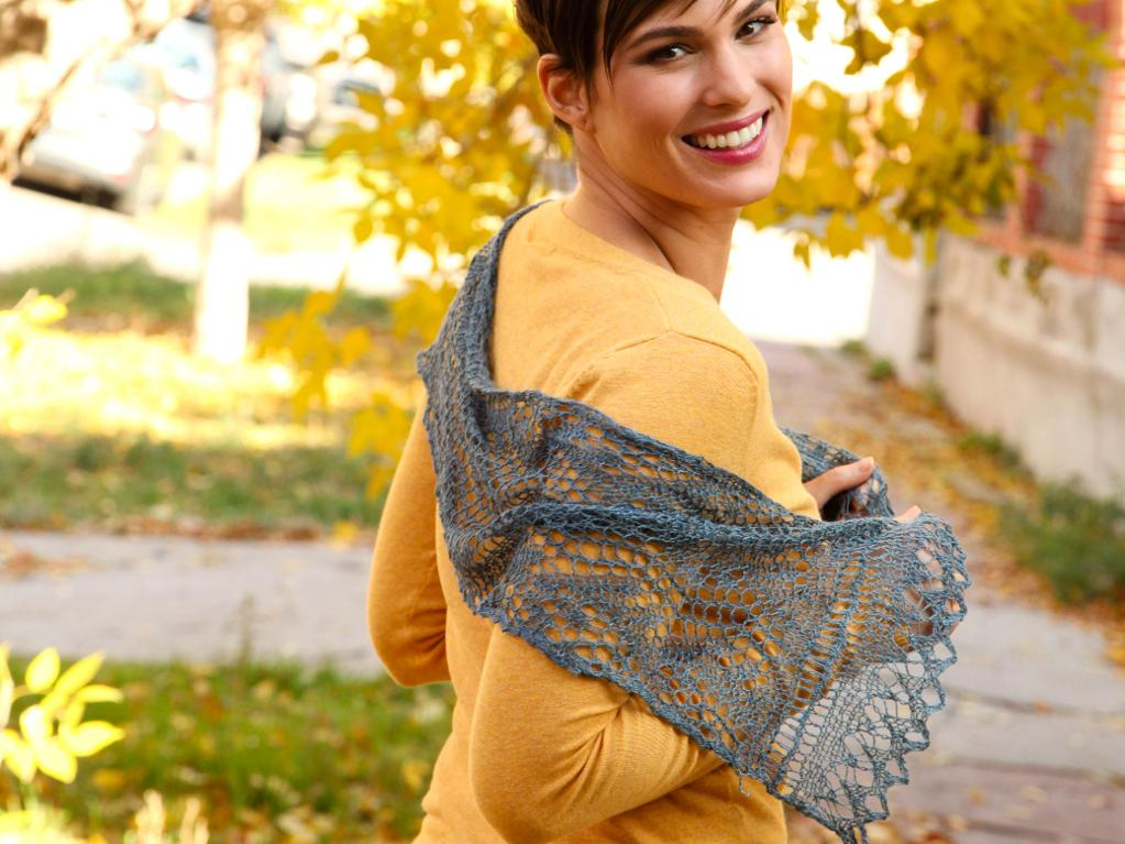 Lace knitted scarf - Ocean Scarf
