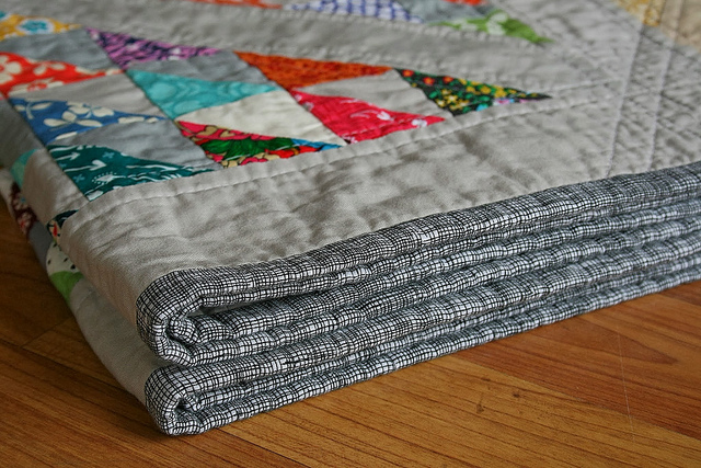 Folded Quilt with Patterned Binding - on Bluprint