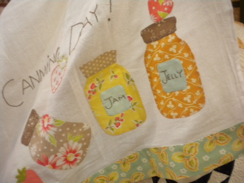 Patchwork Pattern Featuring Jars of Jam