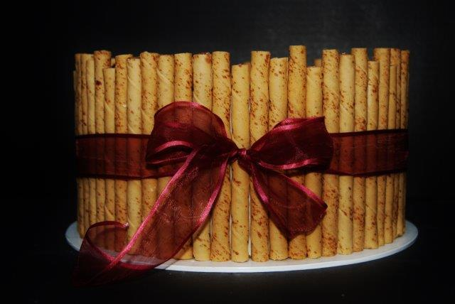 pirouette cookies around cake