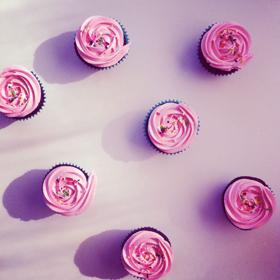 Pink, Sprinkled Cupcakes