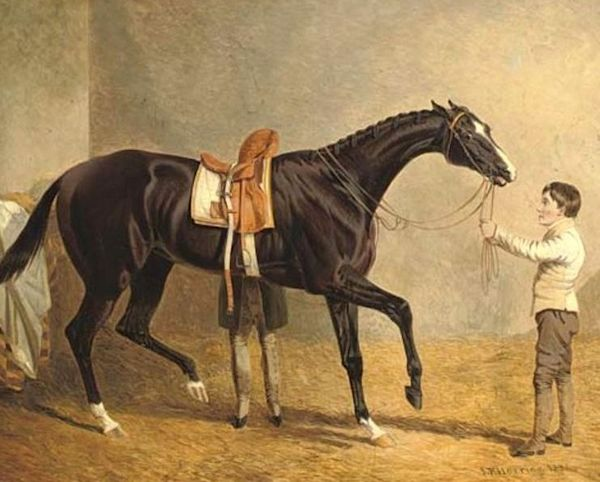 Queen of Trumps in a stable, with two grooms by John Frederick Herring