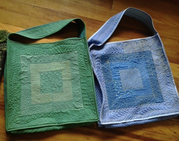 Quilted Bags Featuring Free Motion Quilting