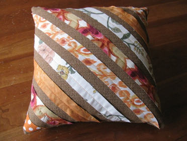 Pillow Make from Long Scraps of Fabric