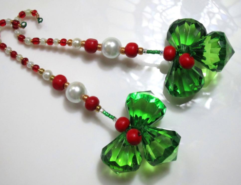 Beaded Holly Christmas Decorations