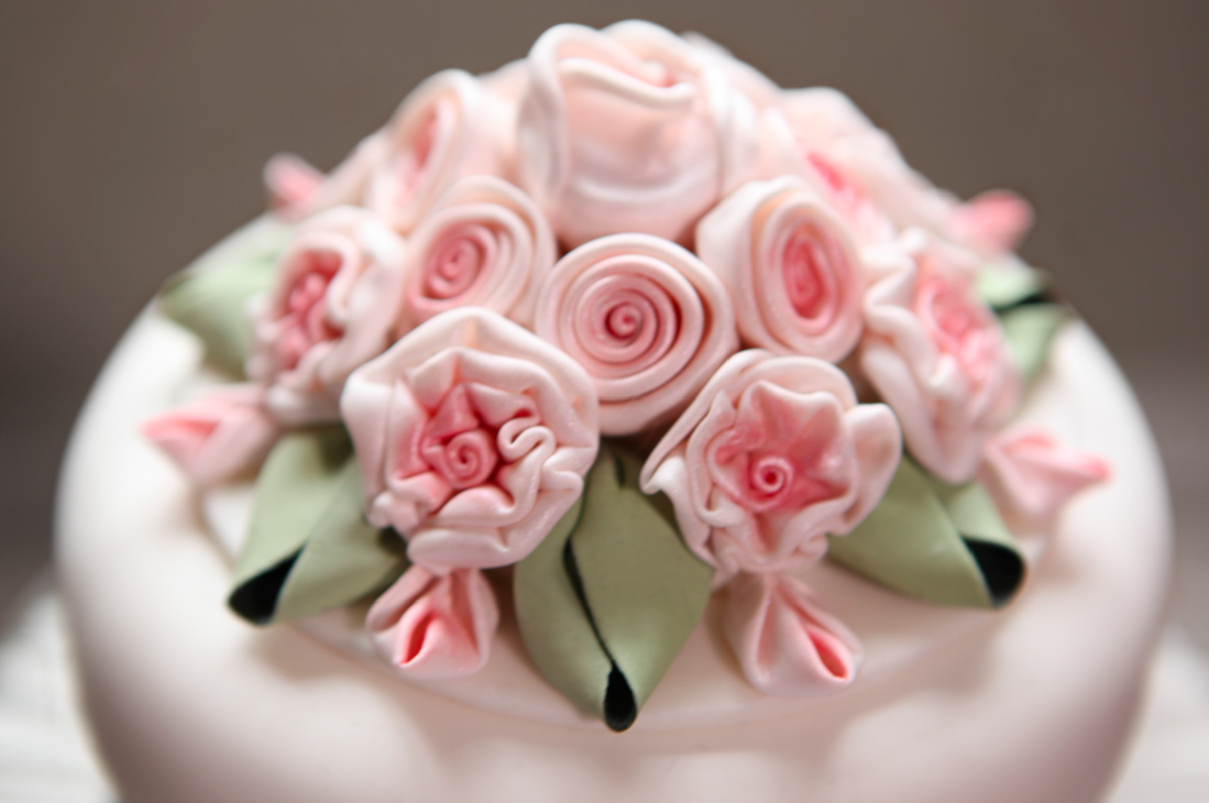 Cake with Rolled Fondant Flowers, by Gary Chapman