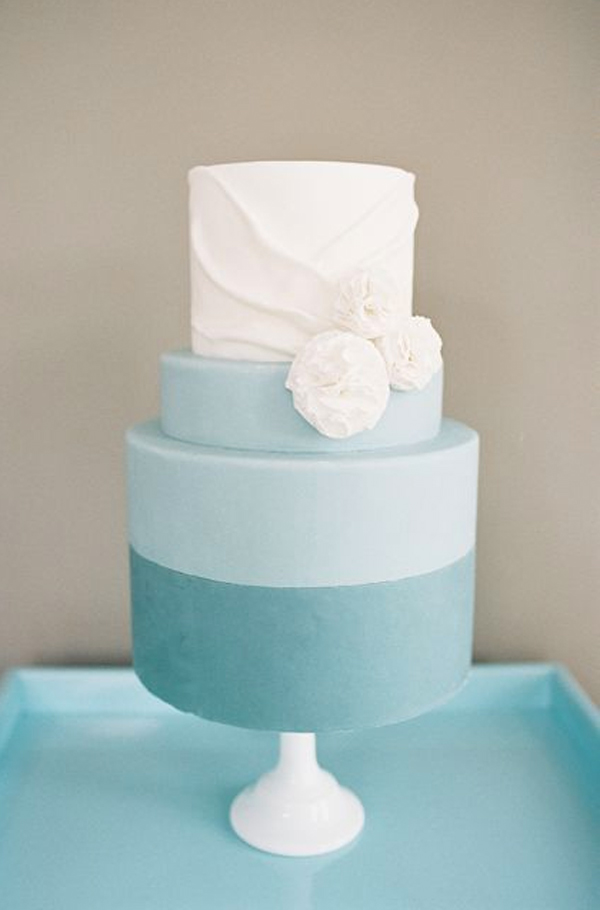 Tiered Blue and White Cake with Fabric Detailing