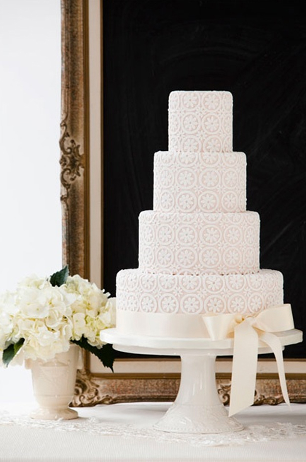 Tiered Wedding Cake with Vintage Lace Design