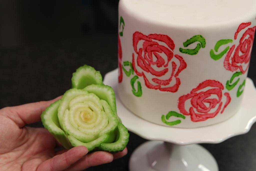 Celery Stamp and Hand-Stamped Cake, on Craftsy