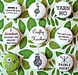 crochet-themed pins