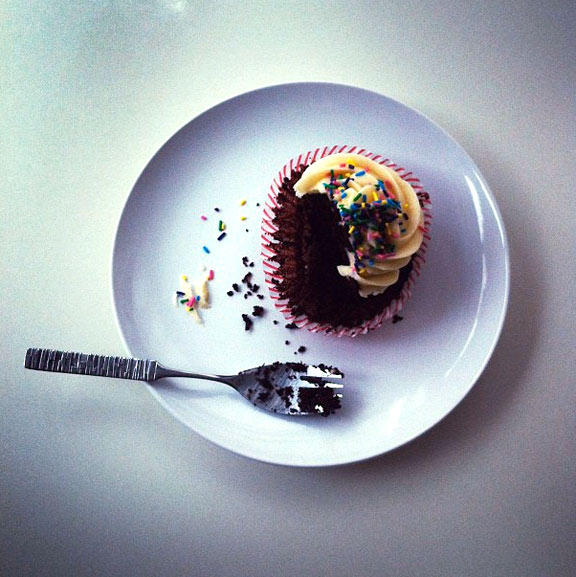 Eating a Chocolate Cupcake - Mmm mmm! - on Bluprint