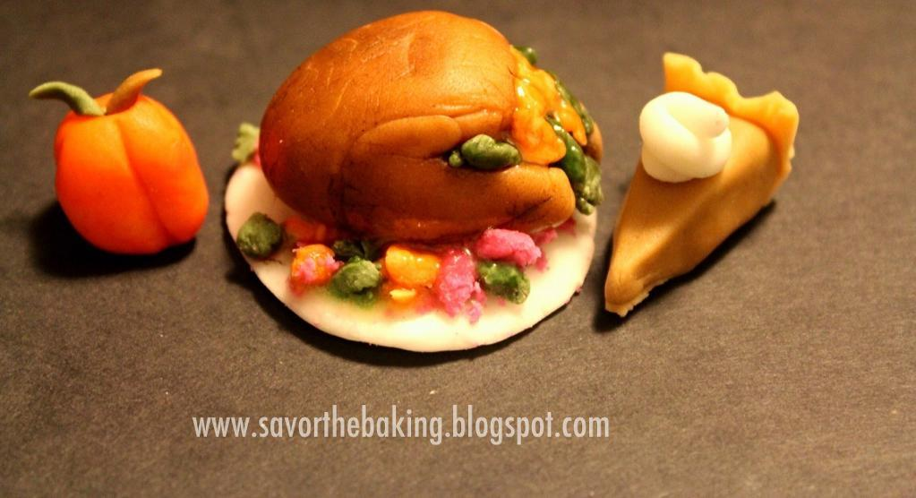 Cake Carved as Turkey, Pie and Pumpkin