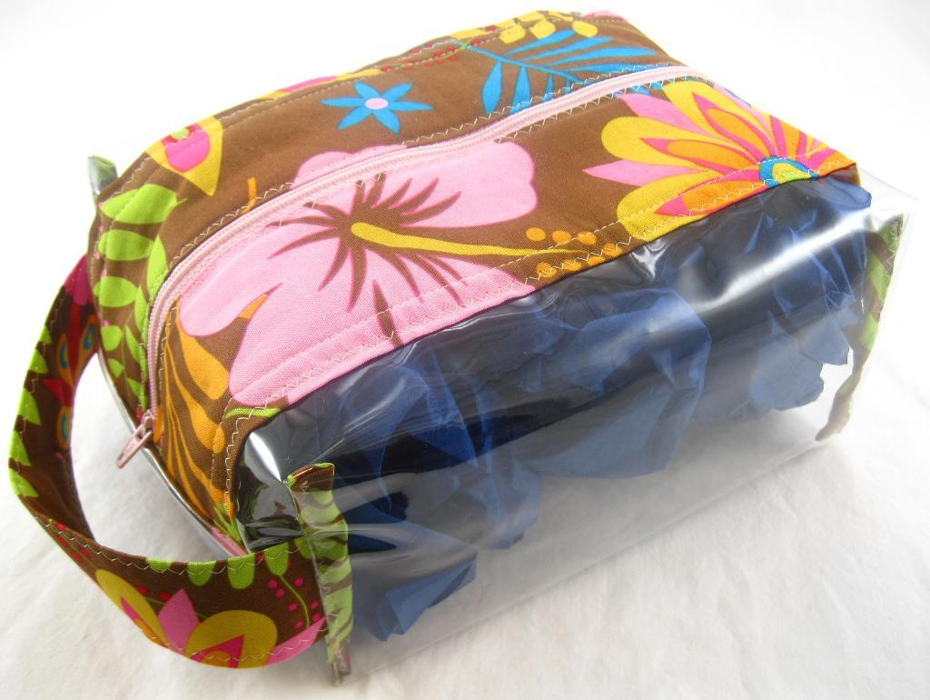 Small Floral Travel Bag with Plastic Side