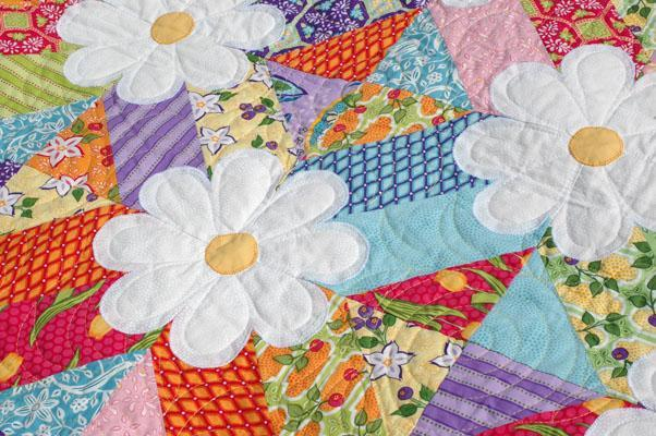 Bluprint - Patterned Blossoms Quilt with Pretty White Flowers