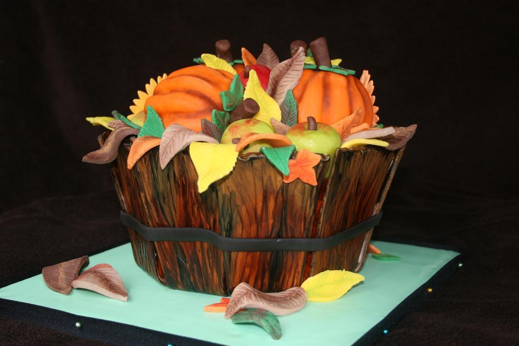 Cake Carved as Thanksgiving Basket, on Bluprint