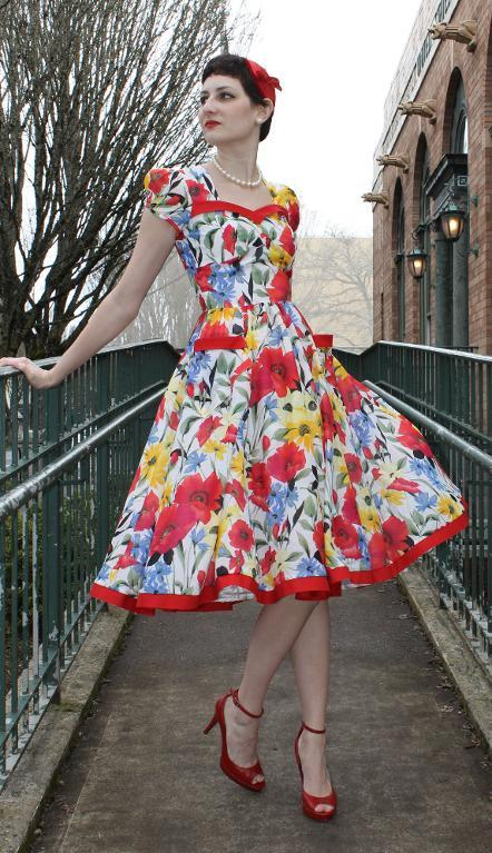 Colorful Patterned Vintage-Inspired Flirt Day Dress