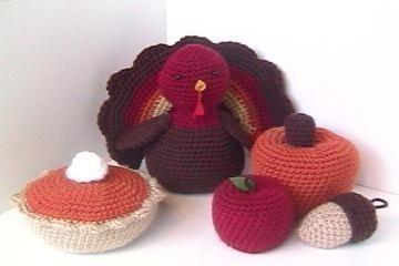 Crocheted Turkey and Pumpkins