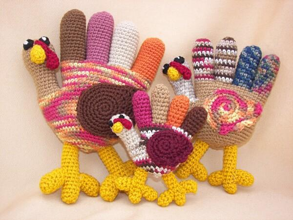 Colorful Crochet Hand Turkeys, on Bluprint.com