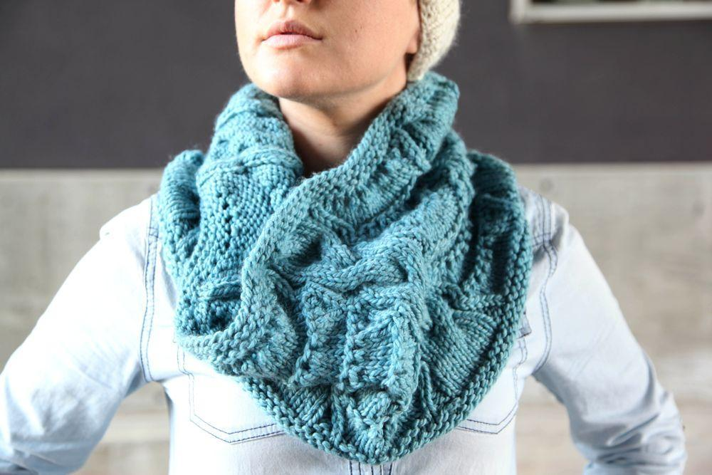 Woman in Lacy Cabled Cowl