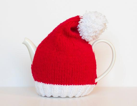 Santa hat tea cozy