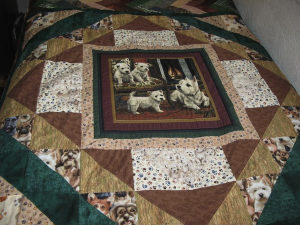 Quilt with Cute Little Dogs, on Bluprint