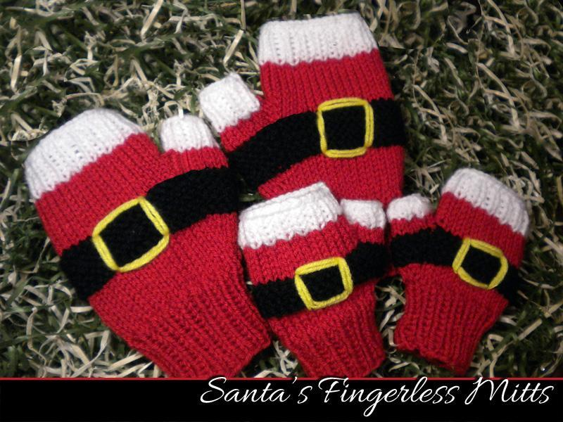 Santa fingerless mitts