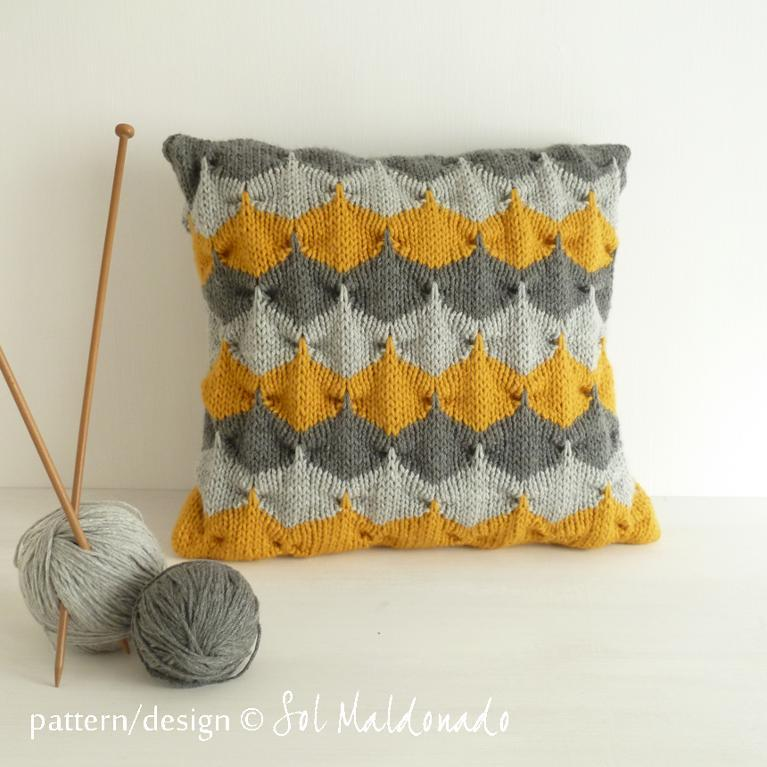 Geometric Knitted Pillow