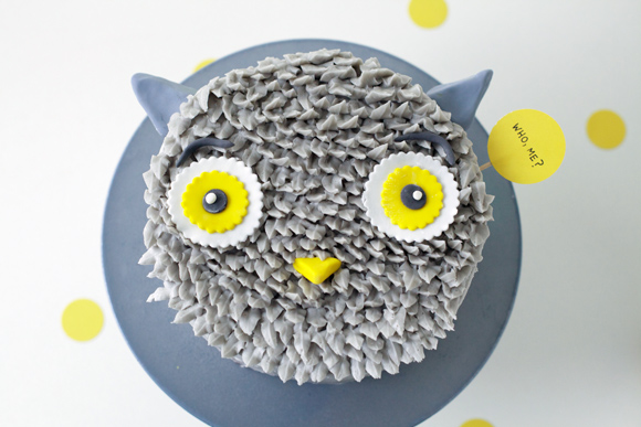 Owl Cake with Feathered Icing, on Craftsy