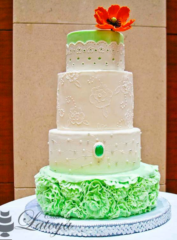Tiered Green and White Lace Cake