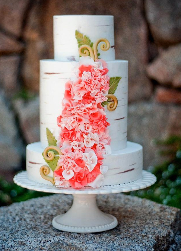 "Tiered ""Birch"" Cake with Ruffly Flowers"
