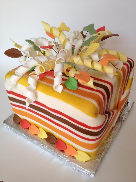 Striped Cake with Curly Fondant Bow