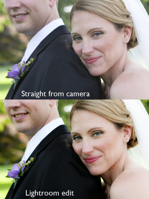 Before and After: Wedding Image Straight from Camera, Then Edited