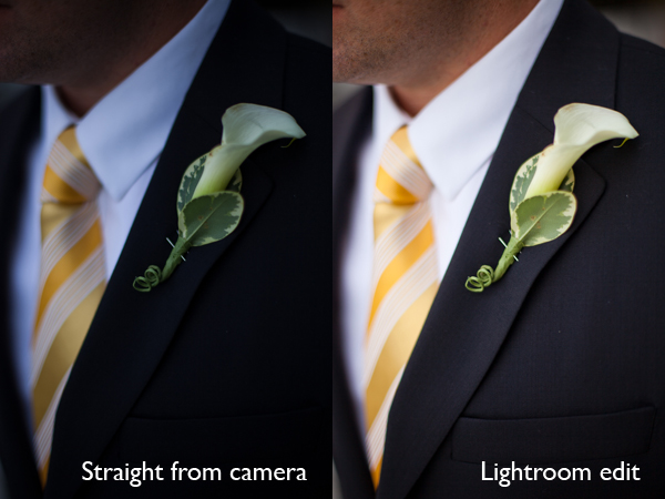 Before and After: Groom Image Straight from Camera, Then Edited