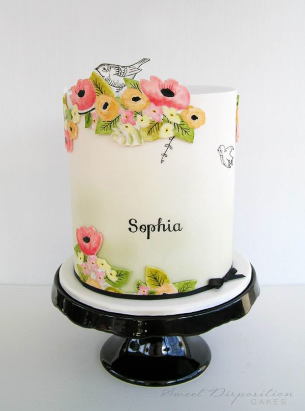 Floral Illustrated Cake