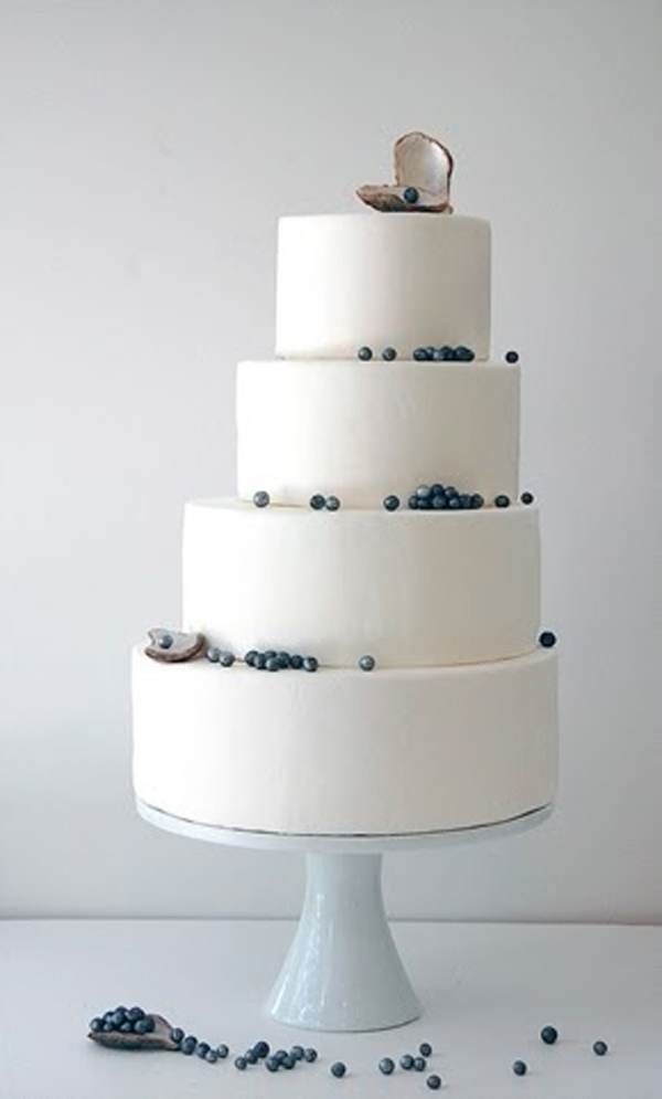 Tiered Pearl and Oyster Wedding Cake