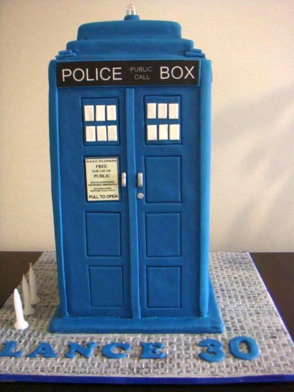 Police Box-Shaped Cake on Bluprint