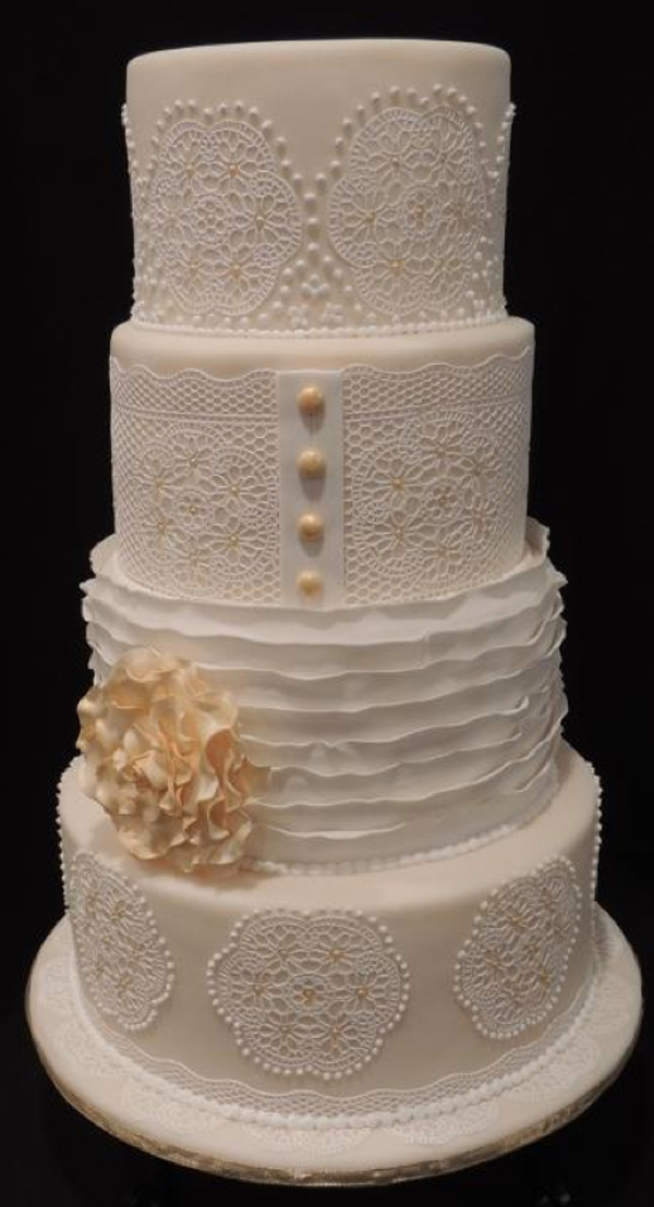 Lace, Tiered White Wedding Cake