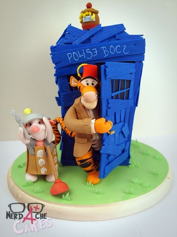 Doctor Who and Winnie the Pooh Themed Cake