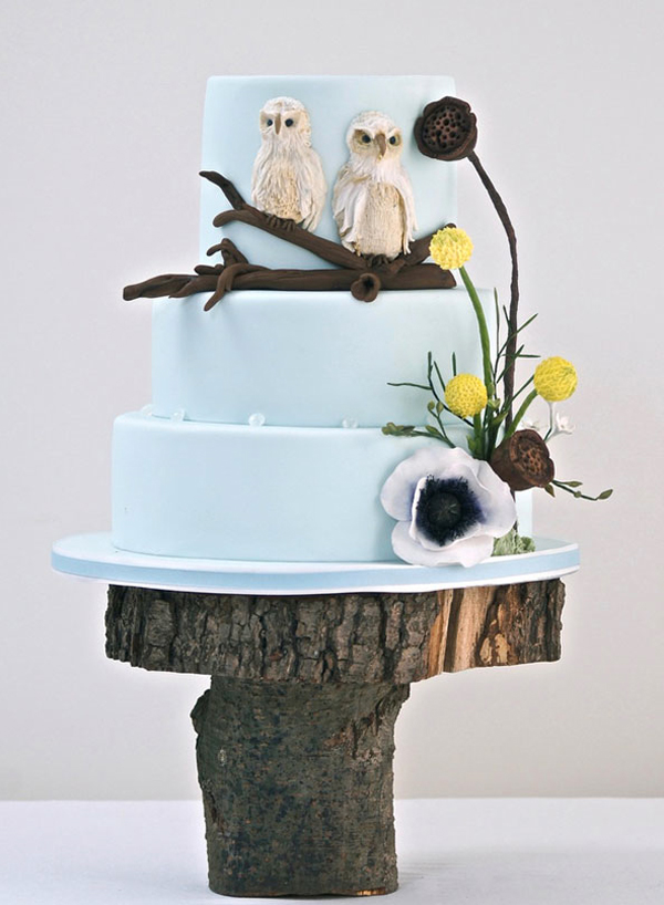 Blue Tiered Cake with Fondant Owls