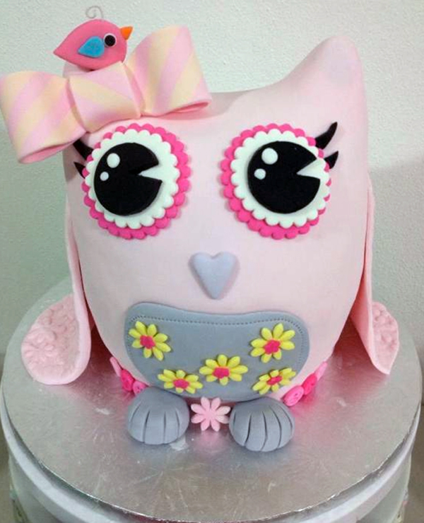 Pink Baby Owl Cake, on Craftsy