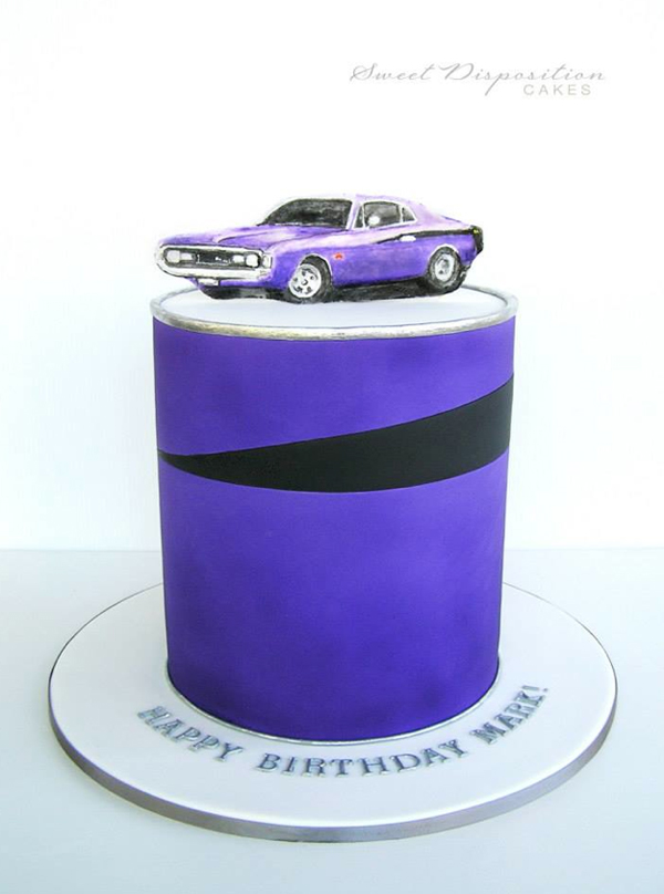 Cake with Illustrated Classic Car